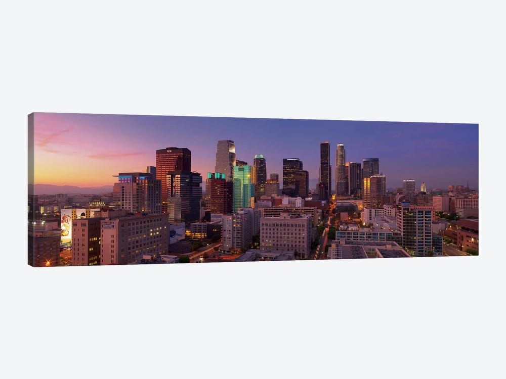 Los Angeles Panoramic Skyline Cityscape (Sunset) by Unknown Artist 1-piece Canvas Art