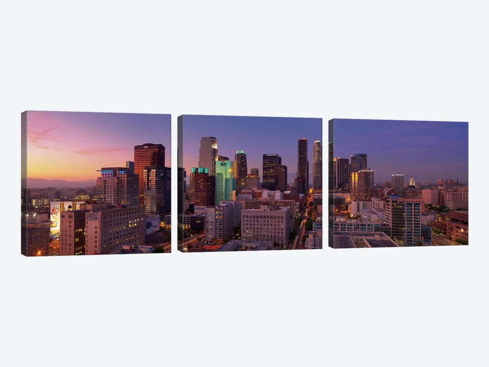 Los Angeles Panoramic Skyline Cityscape (Sunset) 3-piece Canvas Wall Art