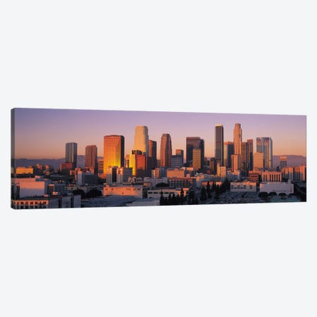 Los Angeles Panoramic Skyline Cityscape (Sunset) Canvas Print #6296} Canvas Art Print