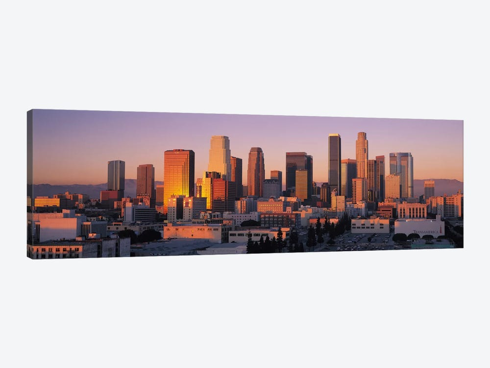Los Angeles Panoramic Skyline Cityscape (Sunset) 1-piece Canvas Artwork