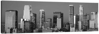 Los Angeles Panoramic Skyline Cityscape (Black & White - Sunset) Canvas Print #6297
