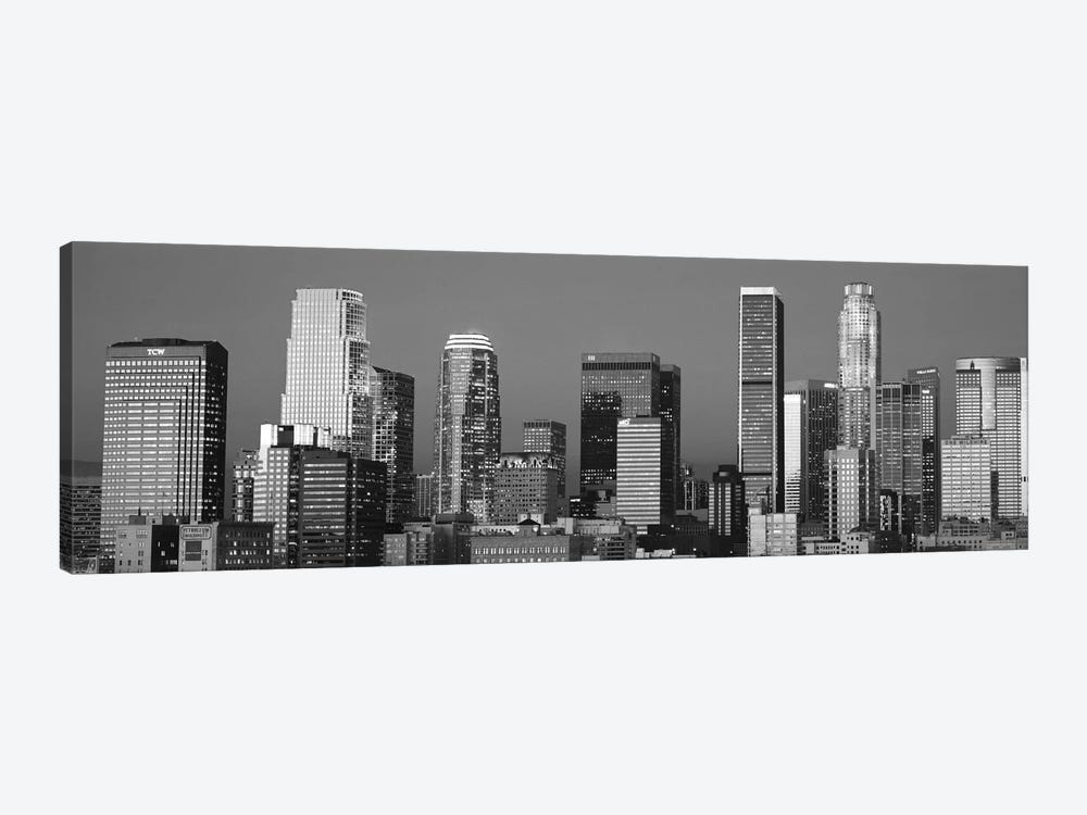 Los Angeles Panoramic Skyline Cityscape (Black & White - Sunset) by Unknown Artist 1-piece Art Print