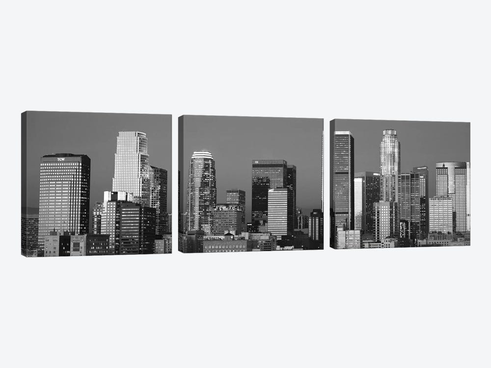 Los Angeles Panoramic Skyline Cityscape (Black & White - Sunset) by Unknown Artist 3-piece Canvas Print