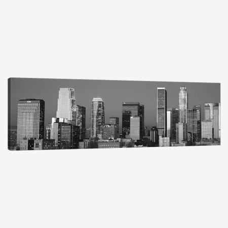 Los Angeles Panoramic Skyline Cityscape (Black & White - Sunset) Canvas Print #6297} by Unknown Artist Canvas Print