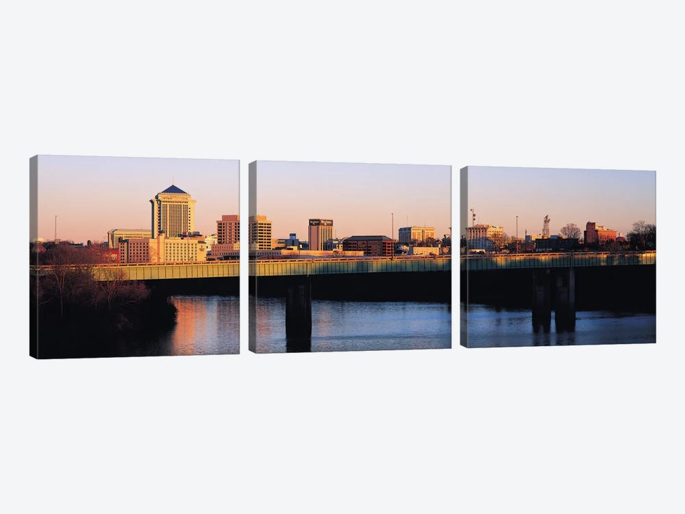 Montgomery Panoramic Skyline Cityscape (Sunset) by Unknown Artist 3-piece Canvas Wall Art