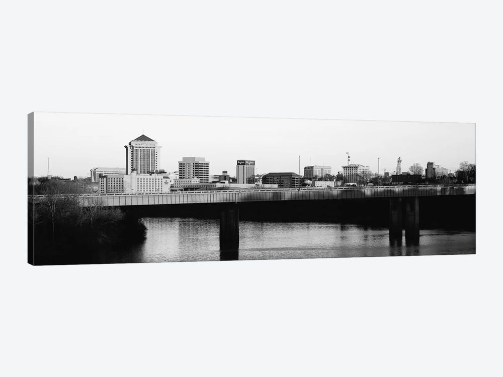 Montgomery Panoramic Skyline Cityscape (Black & White - Sunset) 1-piece Canvas Art Print