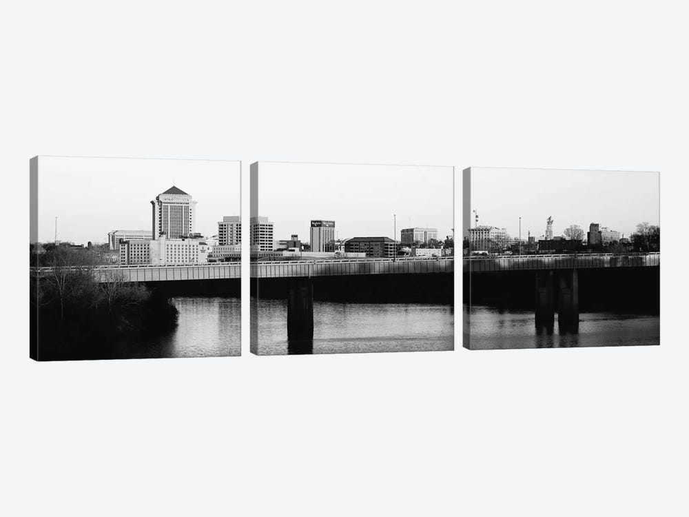 Montgomery Panoramic Skyline Cityscape (Black & White - Sunset) by Unknown Artist 3-piece Art Print