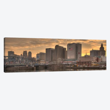 Newark Panoramic Skyline Cityscape (Sunset) Canvas Print #6300} Canvas Art