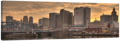 Newark Panoramic Skyline Cityscape (Sunset) Canvas Art Print