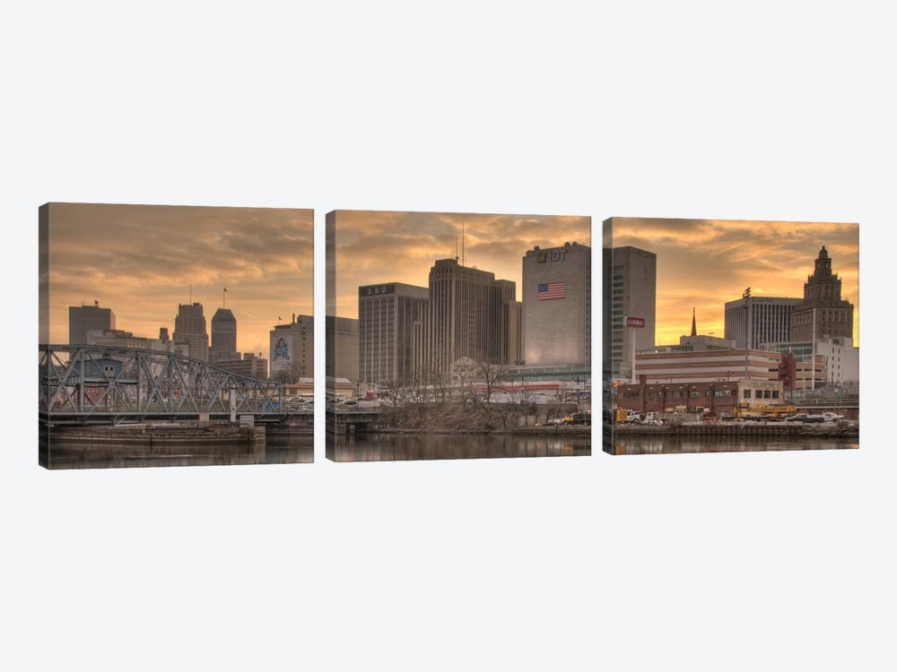 Newark Panoramic Skyline Cityscape (Sunset) by Unknown Artist 3-piece Canvas Art