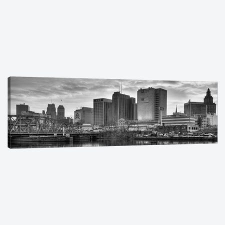 Newark Panoramic Skyline Cityscape (Black & White - Sunset) Canvas Print #6301} by Unknown Artist Canvas Wall Art