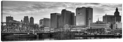Newark Panoramic Skyline Cityscape (Black & White - Sunset) Canvas Print #6301