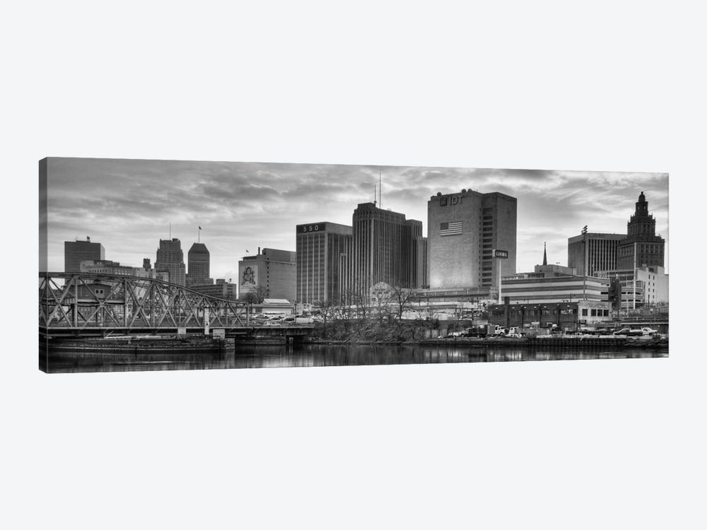 Newark Panoramic Skyline Cityscape (Black & White - Sunset) by Unknown Artist 1-piece Art Print