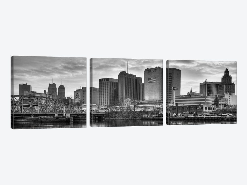 Newark Panoramic Skyline Cityscape (Black & White - Sunset) by Unknown Artist 3-piece Canvas Art Print