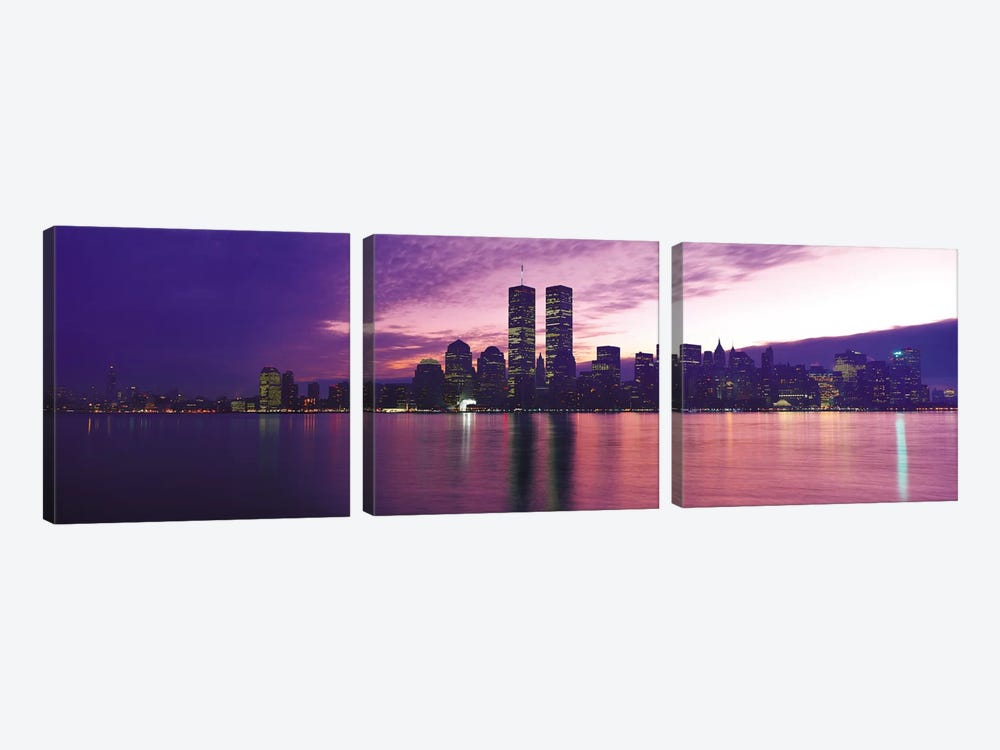 New York Panoramic Skyline Cityscape (Sunset) by Unknown Artist 3-piece Canvas Art Print