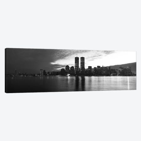 New York Panoramic Skyline Cityscape (Black & White - Sunset) Canvas Print #6304} Canvas Print