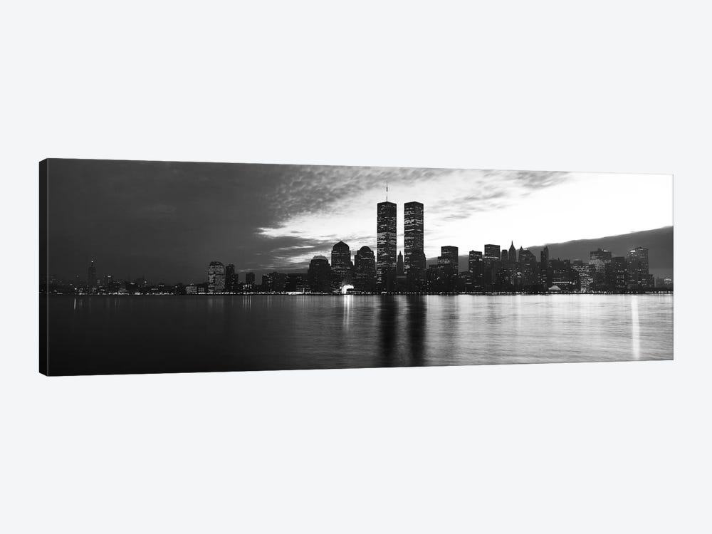 New York Panoramic Skyline Cityscape (Black & White - Sunset) 1-piece Canvas Art