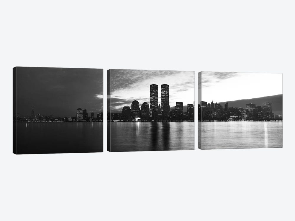 New York Panoramic Skyline Cityscape (Black & White - Sunset) 3-piece Canvas Artwork