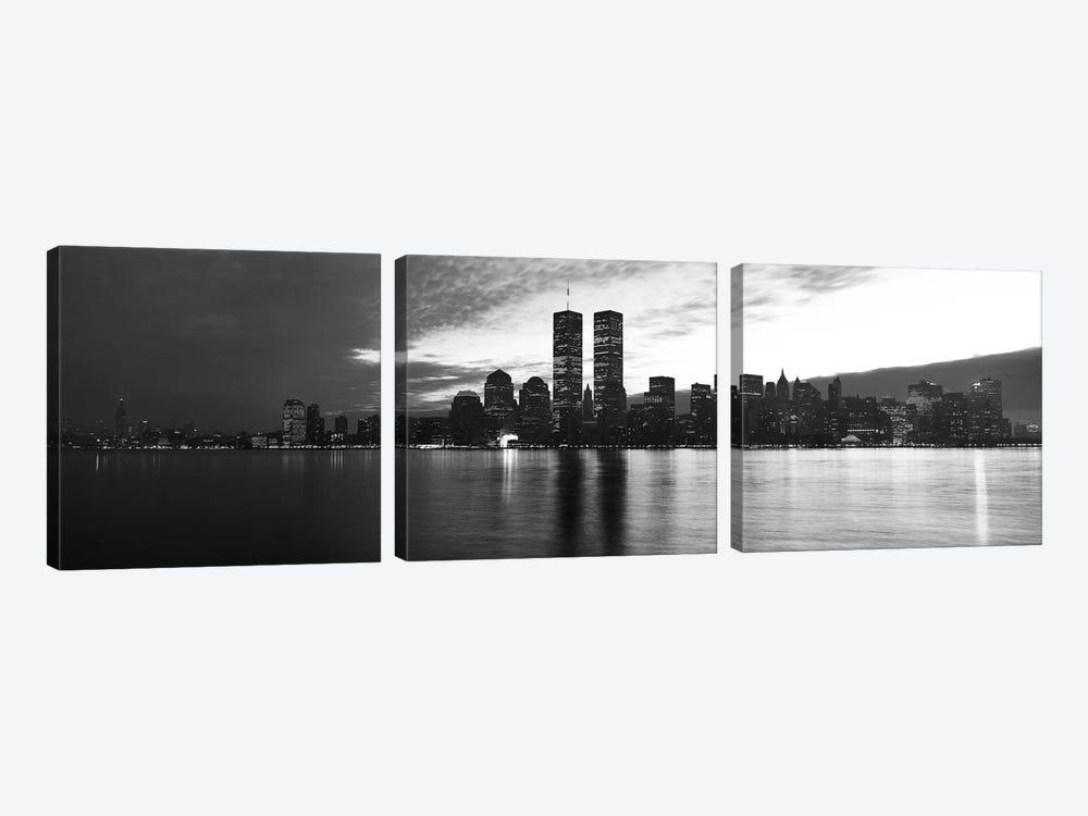 New York Panoramic Skyline Cityscape (Black & White - Sunset) by Unknown Artist 3-piece Canvas Artwork