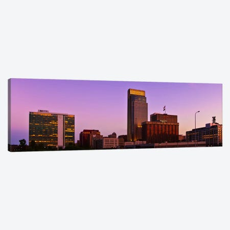 Omaha Panoramic Skyline Cityscape (Sunset) Canvas Print #6307} by Unknown Artist Canvas Print