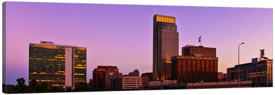 Omaha Panoramic Skyline Cityscape (Sunset) Canvas Art Print