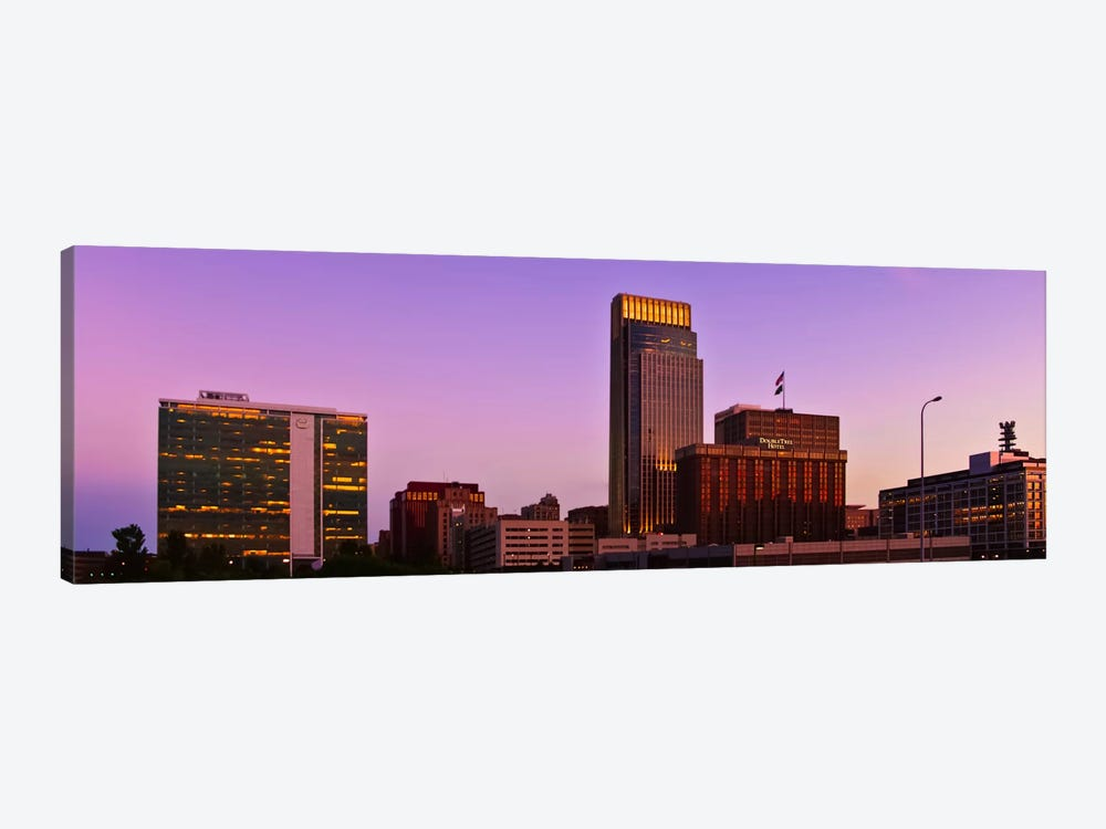 Omaha Panoramic Skyline Cityscape (Sunset) 1-piece Canvas Art Print