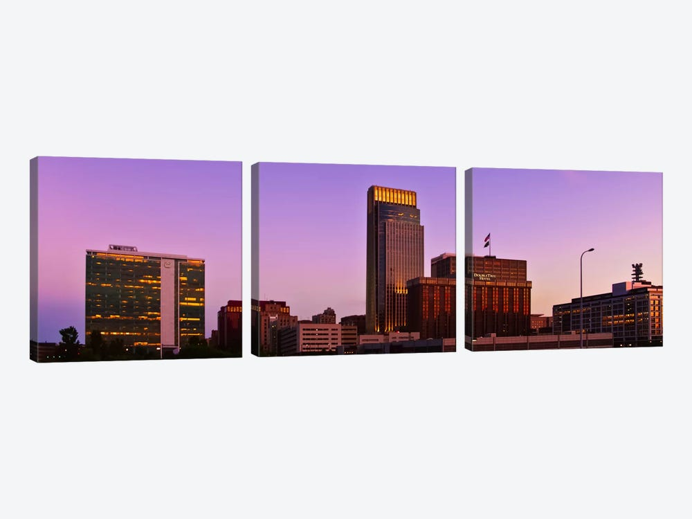 Omaha Panoramic Skyline Cityscape (Sunset) by Unknown Artist 3-piece Canvas Art Print