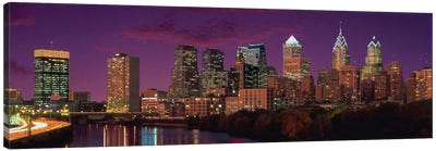 Philadelphia Panoramic Skyline Cityscape (Sunset) Canvas Art Print