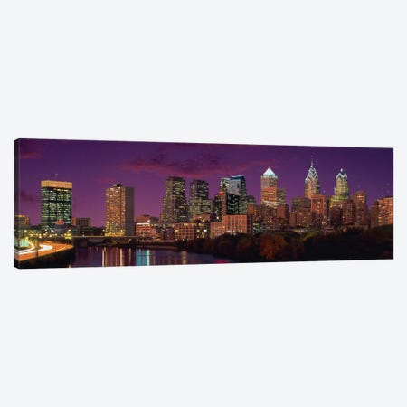 Philadelphia Panoramic Skyline Cityscape (Sunset) Canvas Print #6308} Canvas Wall Art