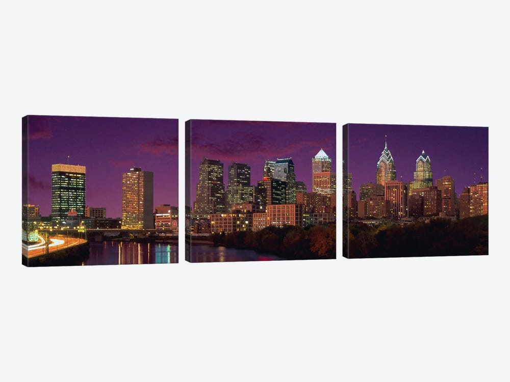 Philadelphia Panoramic Skyline Cityscape (Sunset) by Unknown Artist 3-piece Canvas Art