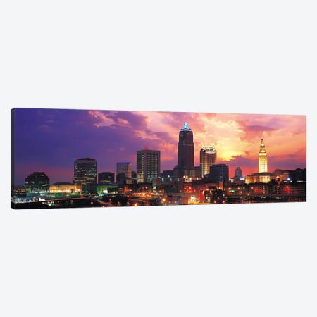 Cleveland Panoramic Skyline Cityscape (Sunset) Canvas Print #6309} Canvas Art
