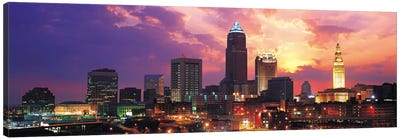 Cleveland Panoramic Skyline Cityscape (Sunset) Canvas Print #6309
