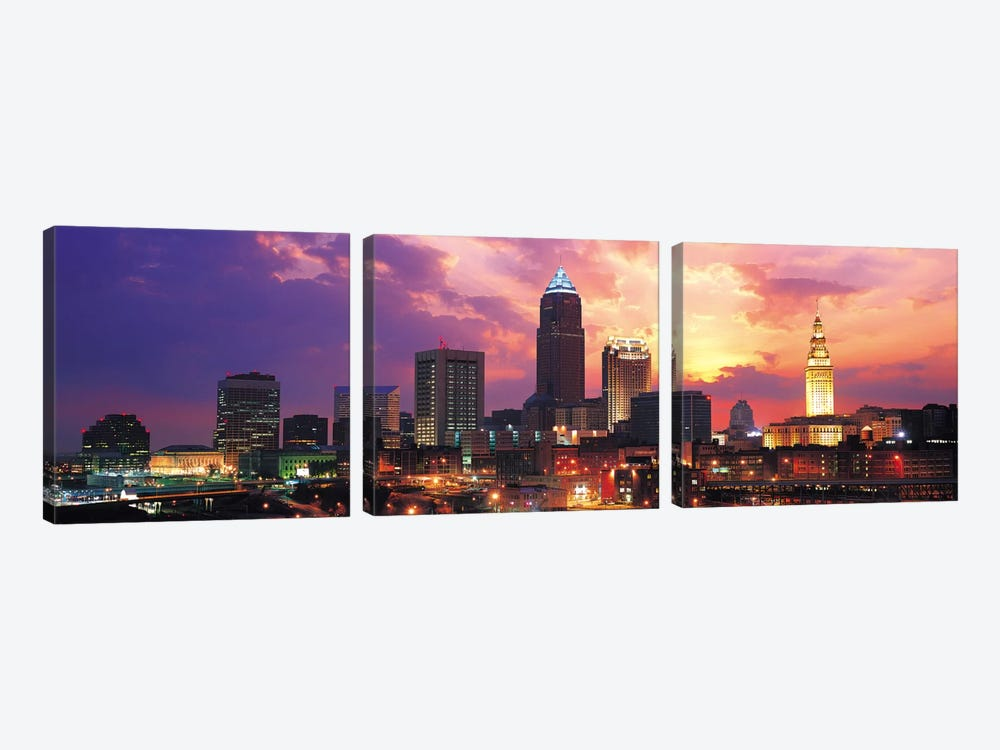 Cleveland Panoramic Skyline Cityscape (Sunset) by Unknown Artist 3-piece Art Print