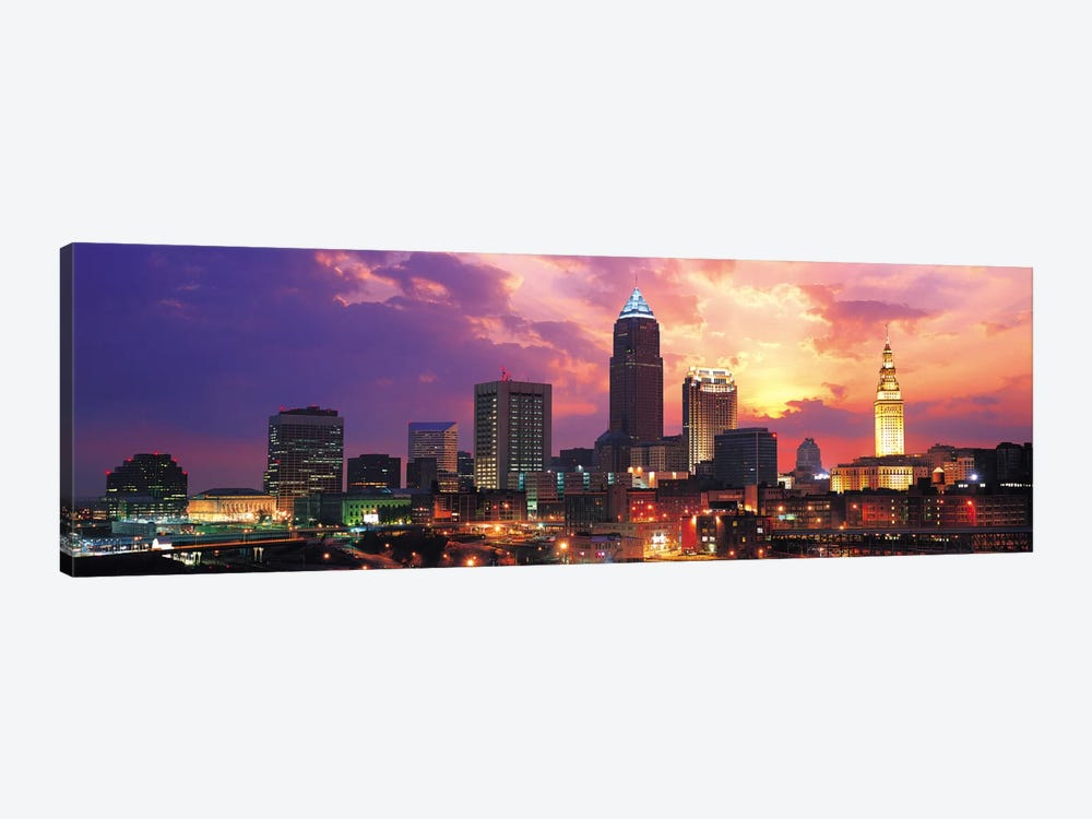 Cleveland Panoramic Skyline Cityscape (Sunset) by Unknown Artist 1-piece Canvas Print