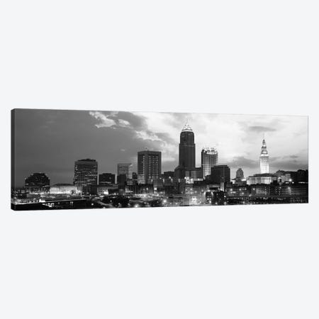 Cleveland Panoramic Skyline Cityscape (Black & White - Sunset) Canvas Print #6310} by Unknown Artist Canvas Art Print