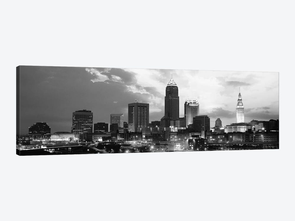 Cleveland Panoramic Skyline Cityscape (Black & White - Sunset) 1-piece Canvas Print