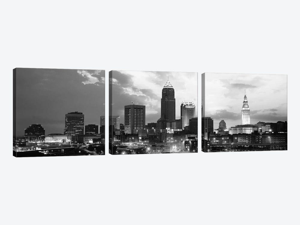Cleveland Panoramic Skyline Cityscape (Black & White - Sunset) 3-piece Art Print