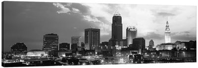 Cleveland Panoramic Skyline Cityscape (Black & White - Sunset) Canvas Art Print