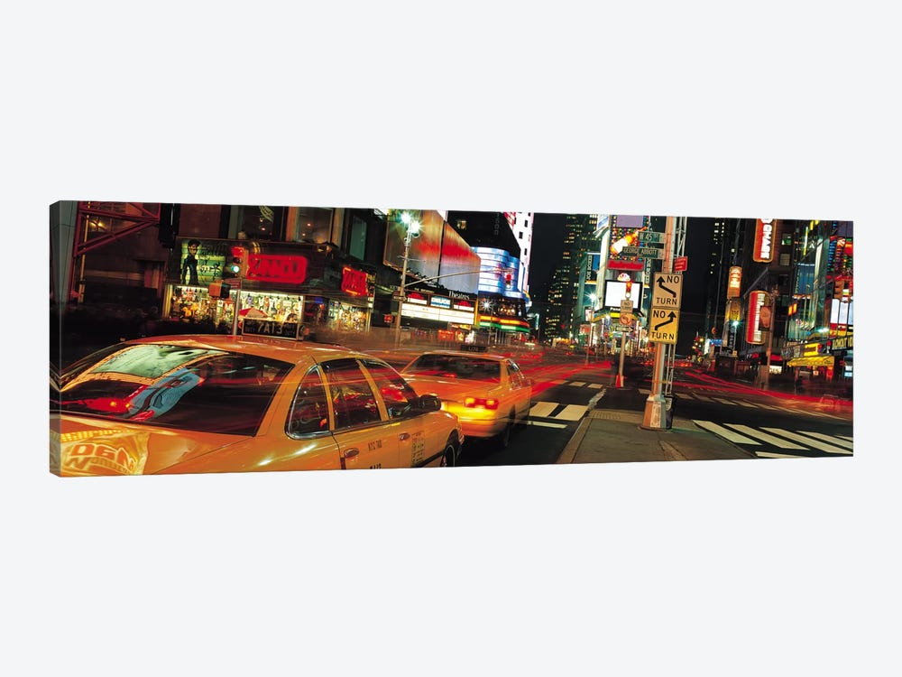 New York Panoramic Skyline Cityscape (Times Square at Night) 1-piece Canvas Art Print