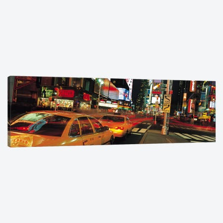 New York Panoramic Skyline Cityscape (Times Square at Night) 3-Piece Canvas #6318} by Unknown Artist Art Print