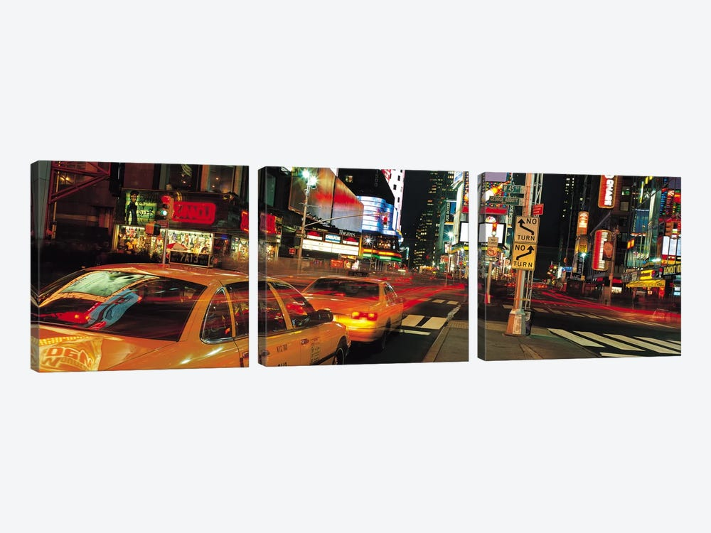 New York Panoramic Skyline Cityscape (Times Square at Night) by Unknown Artist 3-piece Canvas Print
