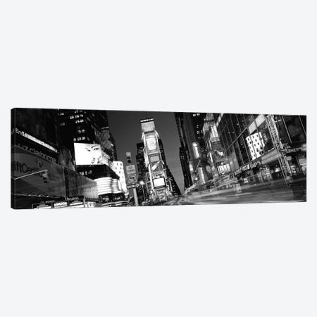 New York Panoramic Skyline Cityscape (Black & White - Times Square at Night) Canvas Print #6319} Canvas Print