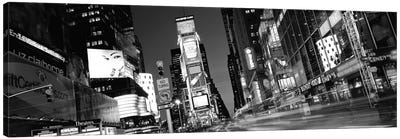 New York Panoramic Skyline Cityscape (Black & White - Times Square at Night) Canvas Print #6319