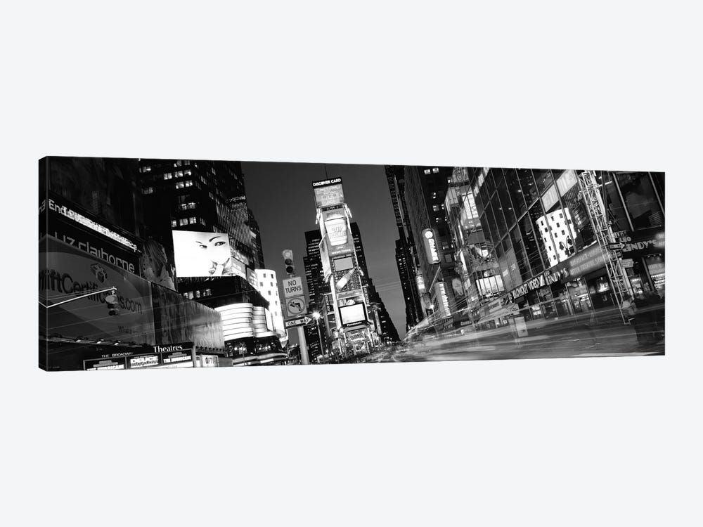New York Panoramic Skyline Cityscape (Black & White - Times Square at Night) 1-piece Canvas Wall Art