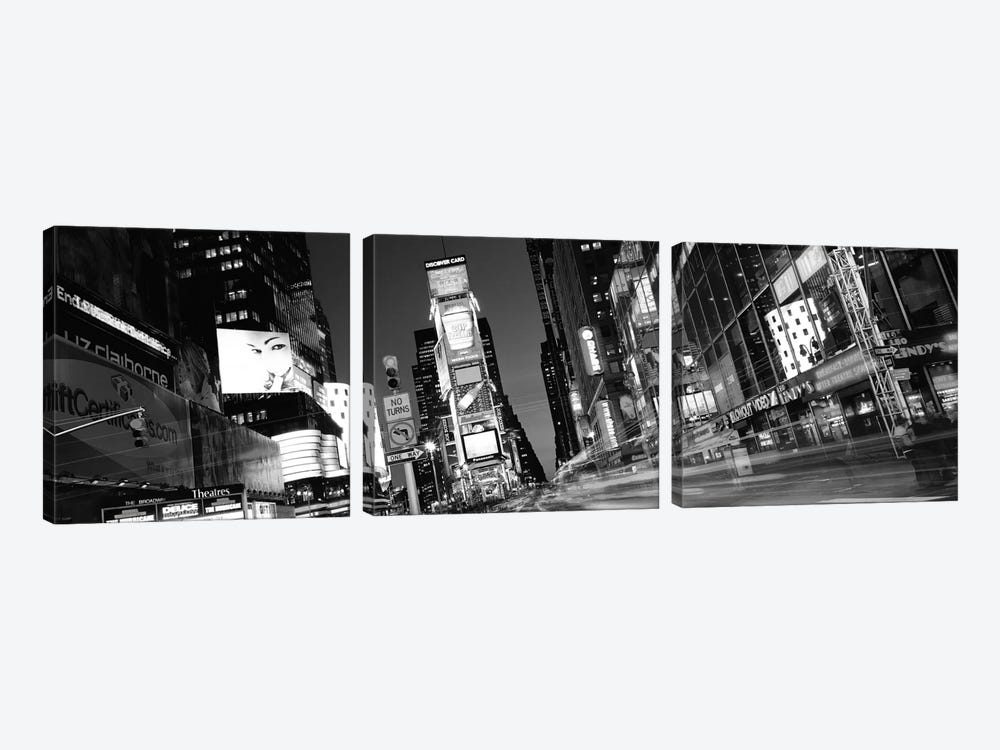 New York Panoramic Skyline Cityscape (Black & White - Times Square at Night) 3-piece Canvas Wall Art