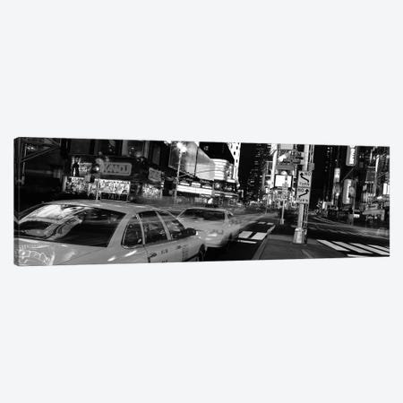 New York Panoramic Skyline Cityscape (Black & White - Times Square at Night) Canvas Print #6320} Canvas Art