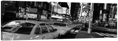 New York Panoramic Skyline Cityscape (Black & White - Times Square at Night) Canvas Print #6320