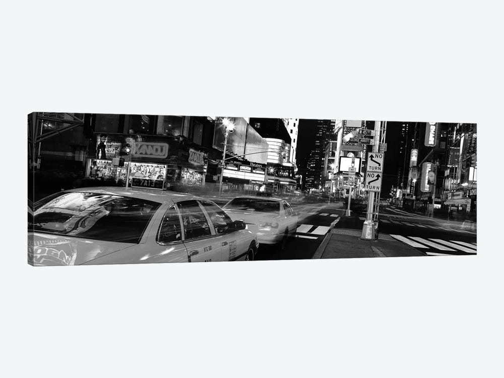 New York Panoramic Skyline Cityscape (Black & White - Times Square at Night) 1-piece Canvas Artwork