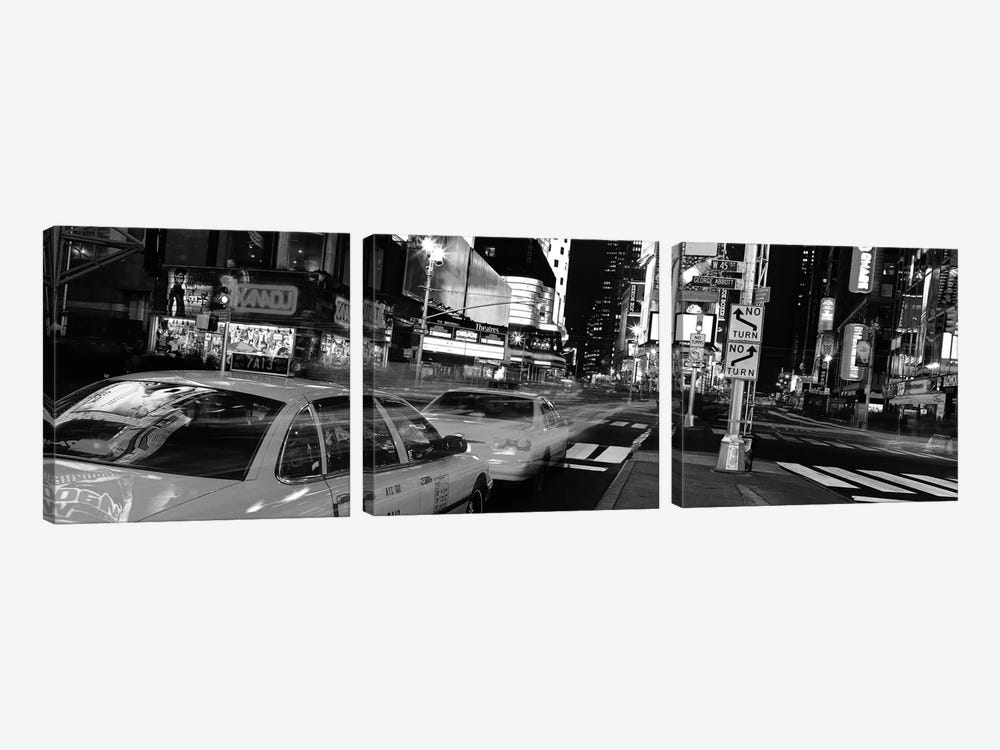 New York Panoramic Skyline Cityscape (Black & White - Times Square at Night) 3-piece Canvas Art