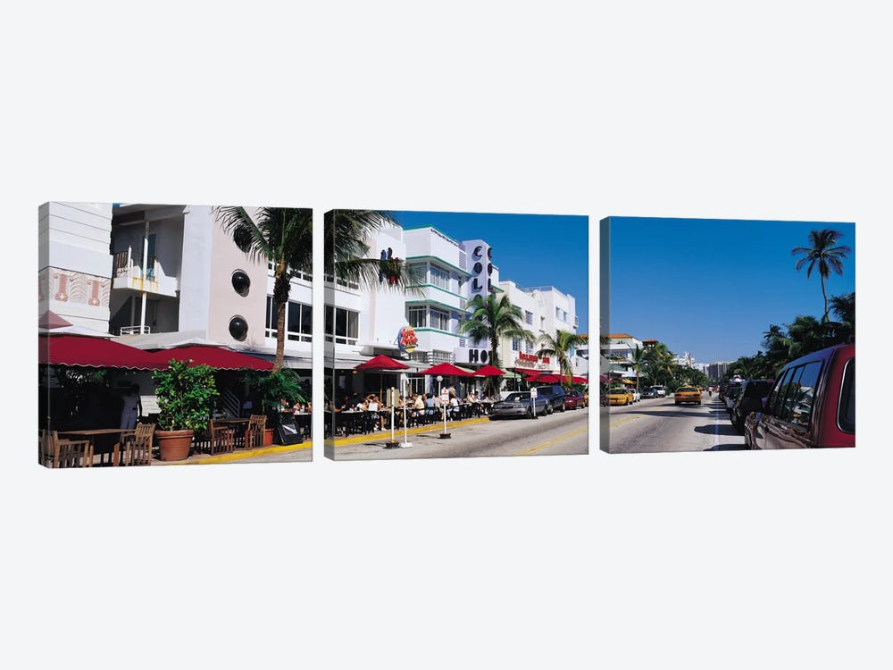 Miami Panoramic Skyline Cityscape (South Beach - Day) by Unknown Artist 3-piece Canvas Print